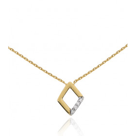 Chaine or jaune 18 carats et pendentif diamant 0,03 carat