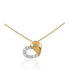"""Chaine or jaune 18 carats et pendentif """"cœur"""" diamant 0,06 carat"""