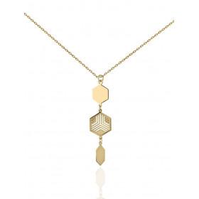 Chaine or jaune 18 carats et pendentif hexagonal