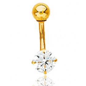 Piercing nombril or jaune 18 carats et diamant 0,40 carat