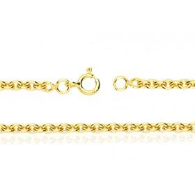 chaine or jaune 18 carats maille forçat pour femmes
