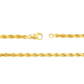 chaine or jaune 18 carats maille corde pour femmes