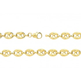 chaine or jaune 18 carats maille grain de café pour femmes