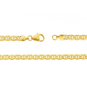 chaine or jaune 18 carats maille marine plate pour femmes