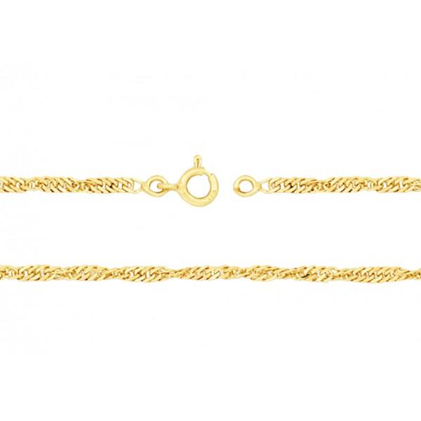 chaine or jaune 18 carats maille Singapour pour femmes