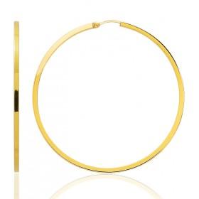 boucles d'oreilles femme or jaune 18 carats créoles 45 mm fil carré