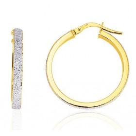 boucles d'oreilles pour femme en or jaune 18 carats glitter 25mm