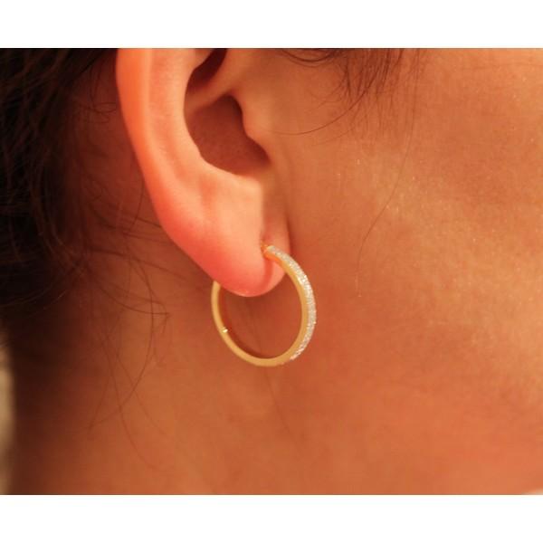 créoles pour femme en or jaune 18 carats 25mm glitter