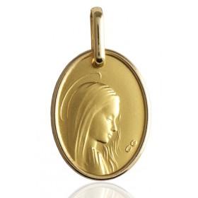 médaille or 18 carats ovale de la vierge