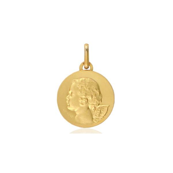 médaille ange en or 18 ronde