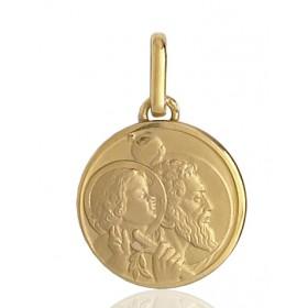 médaille religieuse en or 18 carats saint-Christophe ronde