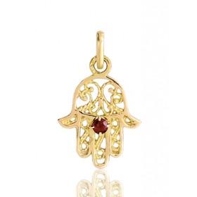 pendentif or 18 carats main de fatma et rubis