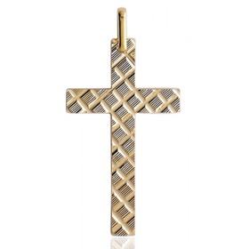 Pendentif croix or 18 carats 22 X 14 mm striée