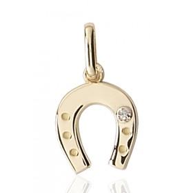 """Pendentif or 18 carats """"fer à cheval"""" et diamant"""