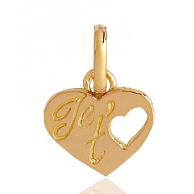 "Pendentif or 18 carats ""je t'aime"""