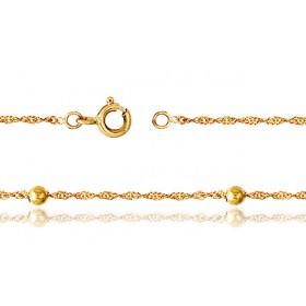"""Chaine de cheville en or jaune 18 carats pour femmes """"boules"""""""
