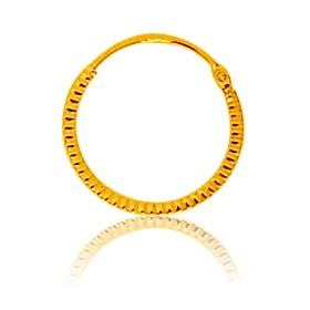 boucles d'oreilles enfant or jaune 18 carats créoles 14 mm striée