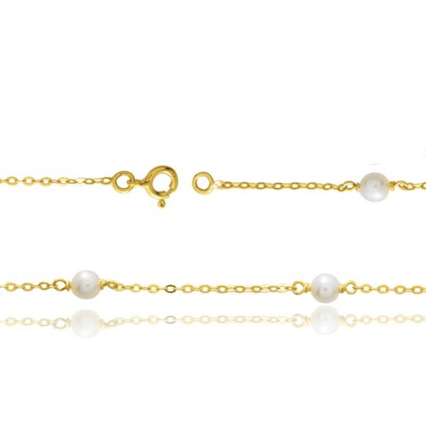 Chaine de cheville or 750/1000 et perles de d'eau douce