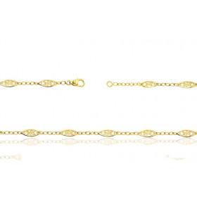 Chaine de cheville or jaune 18 carats maille filigrane