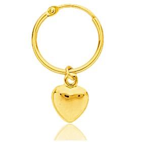 boucles d'oreilles enfant or jaune 18 carats créoles et coeur