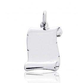 Pendentif or blanc personnalisable parchemin à graver.