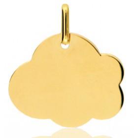 Pendentif or jaune personnalisable nuage à graver.