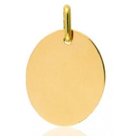 Pendentif or jaune personnalisable ovale à graver.
