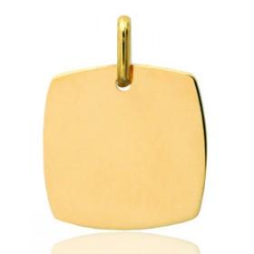 Pendentif or jaune personnalisable tonneau à graver.