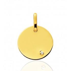 Pendentif or jaune personnalisable rond et diamant à graver.