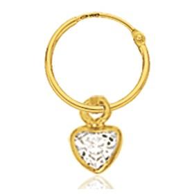 créoles or jaune cœur zirconium pour filles