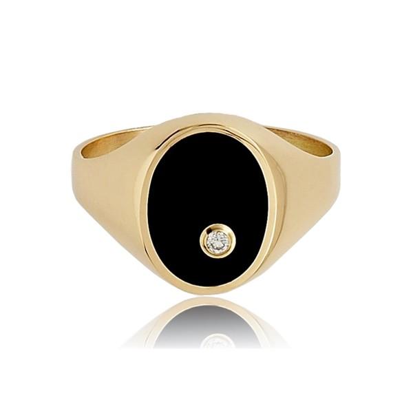 Chevalière or 750/1000 ovale, onyx et diamant pour hommes.
