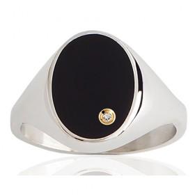 Chevalière pour homme en argent, onyx ovale et diamant