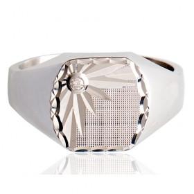 Chevalière pour homme en argent et diamant
