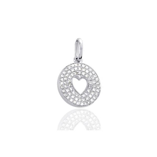 Pendentif or blanc 18 carats et diamant 0,25 carat