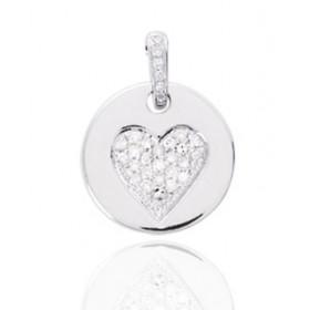 Pendentif or blanc 18 carats et diamant 0,11 carat