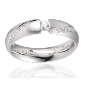 bague alliance Breuning en or blanc 18 carats brossé et diamant 0,16 carat