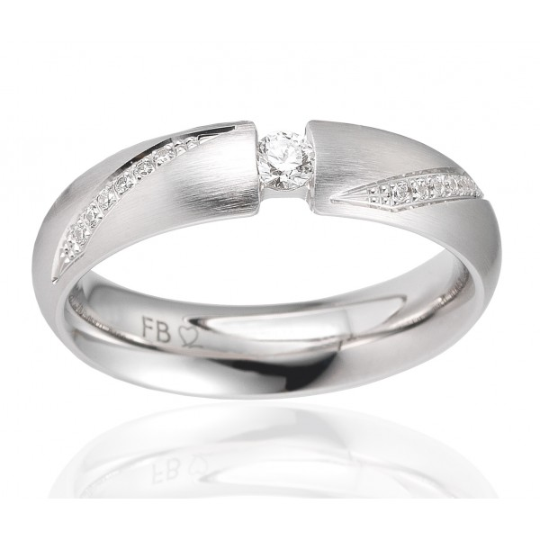 duo d'alliances breuning or blanc 18 carats et diamants