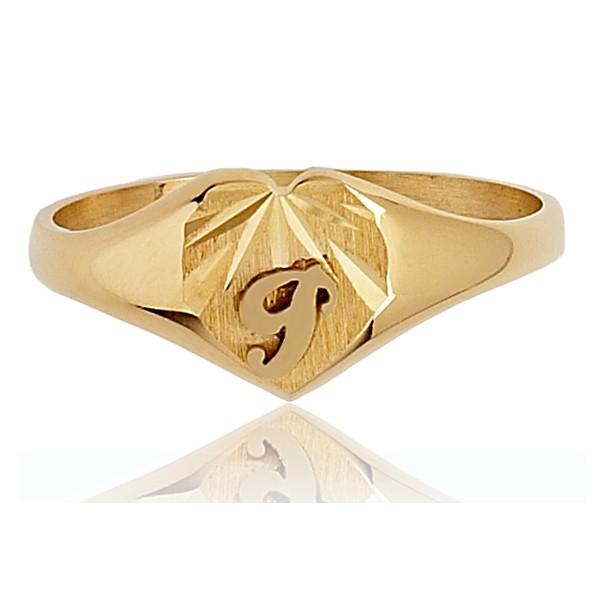Chevaliere en or 750/1000 cœur personnalisable pour femme