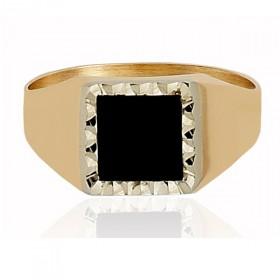 Chevalière or 18 carats et onyx pour femme