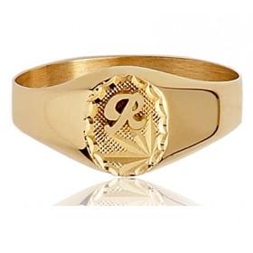 Chevaliere en or 750/1000 ovale personnalisable pour femme