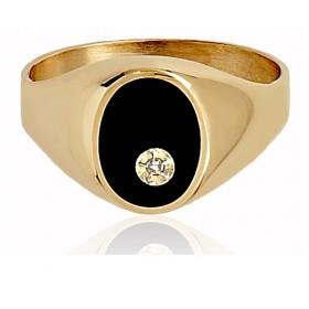Chevalière or 18 carats et onyx et diamant pour femme