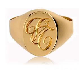 Chevaliere or 18 carats avec gravure à la main
