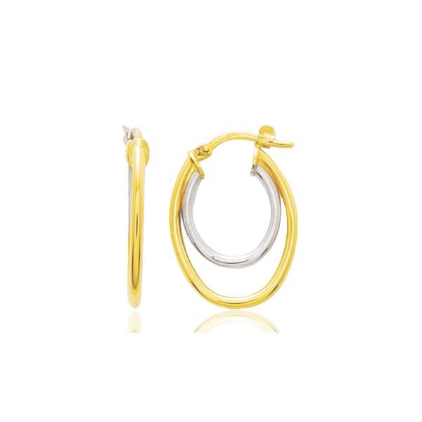 Boucles d'oreilles deux or 18 carats créoles ovales