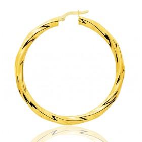 boucles d'oreilles torsadées 40 mm en or jaune pour femmes