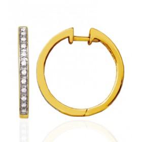créoles  or jaune 18 carats et diamants pour femme
