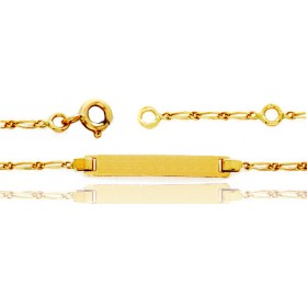Gourmette identité en or jaune 18 carats maille cheval personnalisable avec une gravure