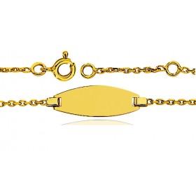 Gourmette identité en or jaune 18 carats maille forçat rond personnalisable avec une gravure