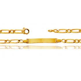 Gourmette identité en or jaune 18 carats maille cheval alternée personnalisable