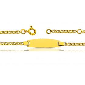 Gourmette identité en or jaune 18 carats maille marine battue personnalisable