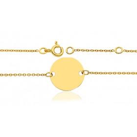 Gourmette identité en or jaune 18 carats maille forçat et jeton personnalisable